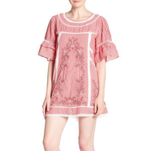 Free People Womens Sunny Day Red Embroidered Dress